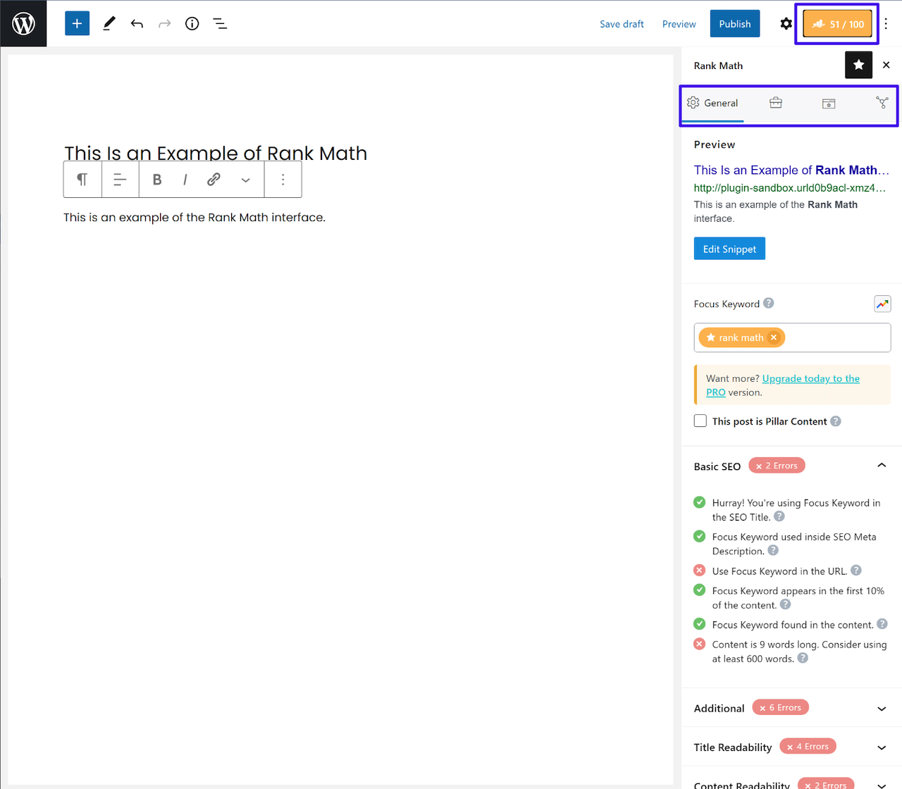 Rank Math User Interface