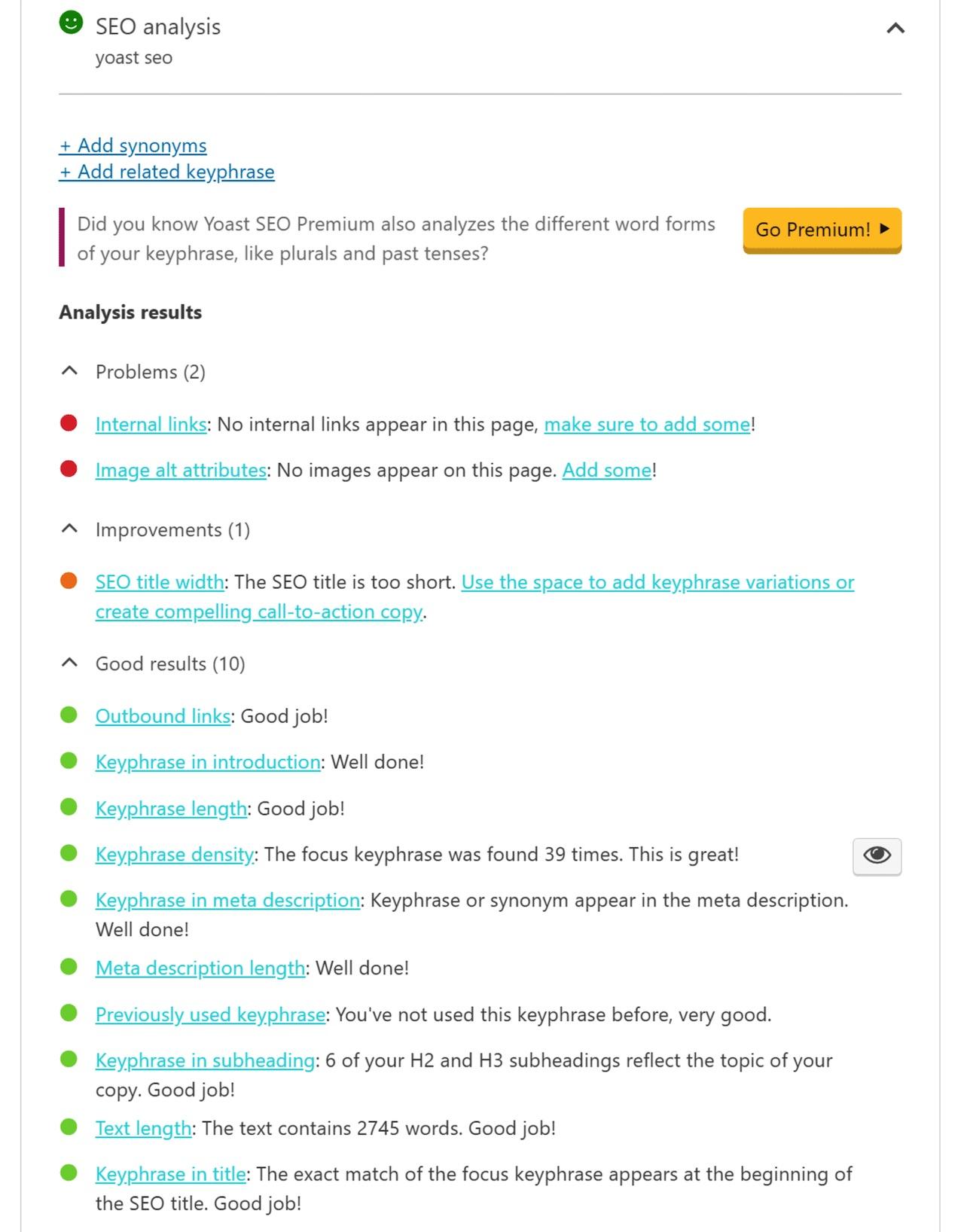Yoast SEO keyword analysis