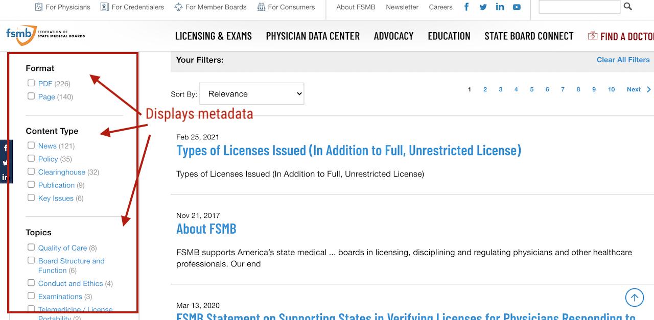 result set metadata display